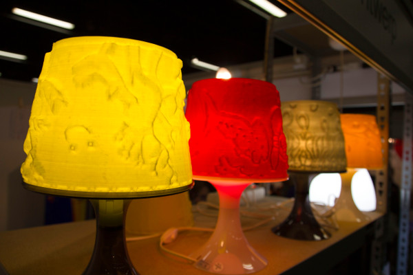 A series of 3 colorful Lampan lampshades made by VanAllesWat