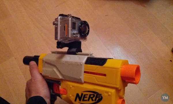 3D Printed GoPro Rail mount for Nerf guns