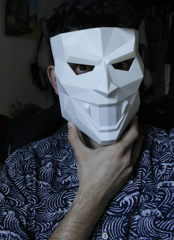 Augustin with one of his 3D printed masks