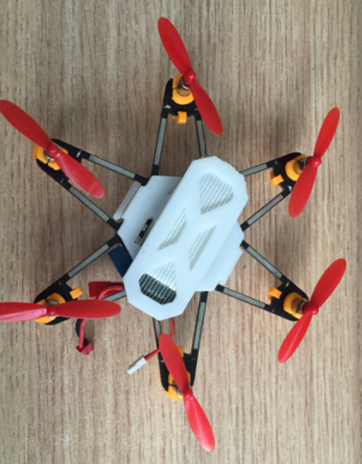 An ELF Drone, top view, showing the 3D printed parts in white