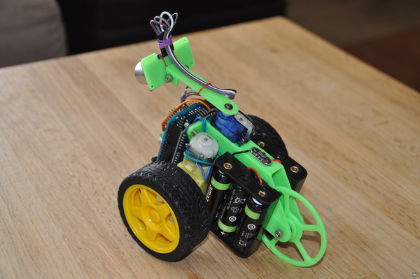 Scrufie the adorable Arduino powered ultrasonic sensor obstacle avoidance robot, side view