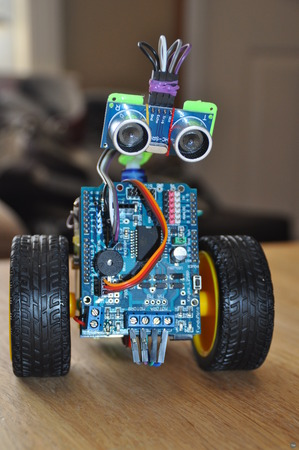 Scrufie the adorable Arduino powered ultrasonic sensor obstacle avoidance robot