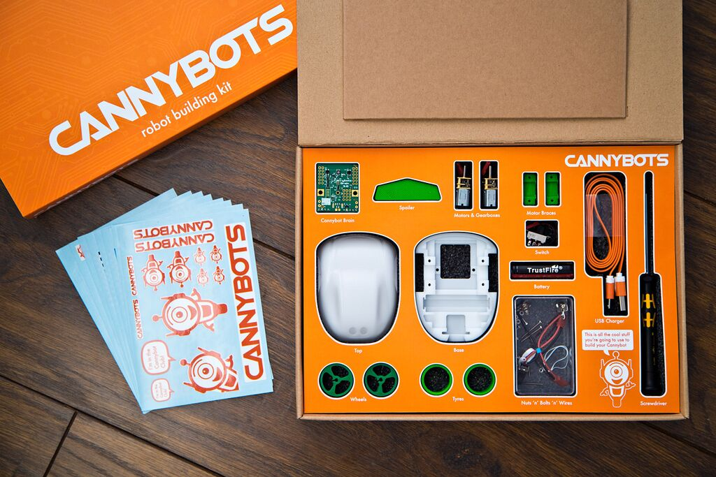The complete Cannybots kit.